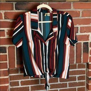 🔥 Japna Striped Button Front Tie V-Neck Top